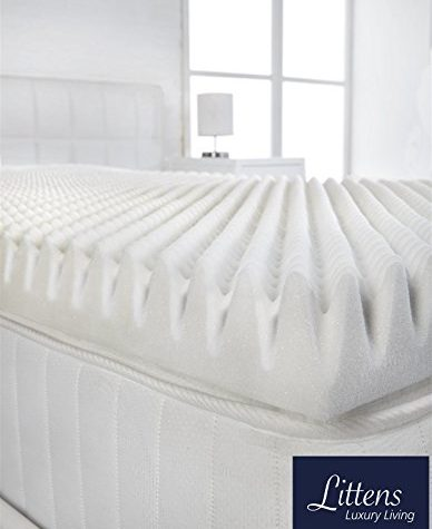 "Littens - 3"" Extra Deep 4ft Small Double Bed Size Memory Foam Mattress Topper (Profile / Egg Shell) 75mm, 120cm x 190cm 1"