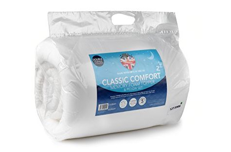 DreamTime Memory Foam Double Topper and 2 Pillow Set, White 7