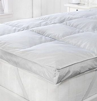 "Littens - 3"" EXTRA DEEP Hotel Quality White Goose Feather & Down Mattress Topper - Double Bed Size - 100% Cotton Anti-Dust Mite & Down Proof 10"