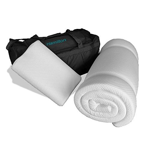 Prima Comfort Travel Memory Foam Mattress Topper plus Pillow - The Hamilton -7 DAY MONEY BACK GUARANTEE!!! includes Memory Foam Travel Pillow and holdall bag! (Mattress 190cm x 70cm x 3.5cm) 1