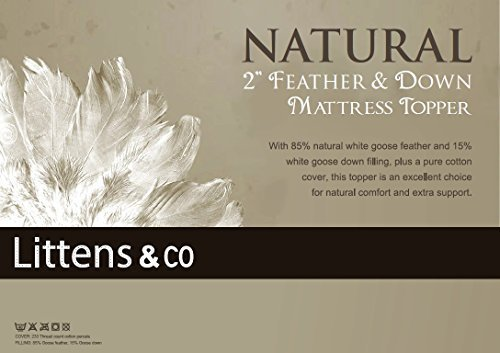 Innaliving King Bed - Goose Feather & Down Mattress Topper / Overlay by Littens 10