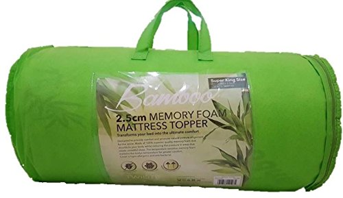 Bamboo Memory Foam Mattress Topper with Cover, 4cm Thick - UK Super King Size 1