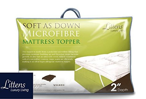"Littens 2"" Deep Luxury Soft As Down Microfibre Mattress Topper 1000gsm Filling (4ft6 Double Bed Size 137cm x 190cm) 8"