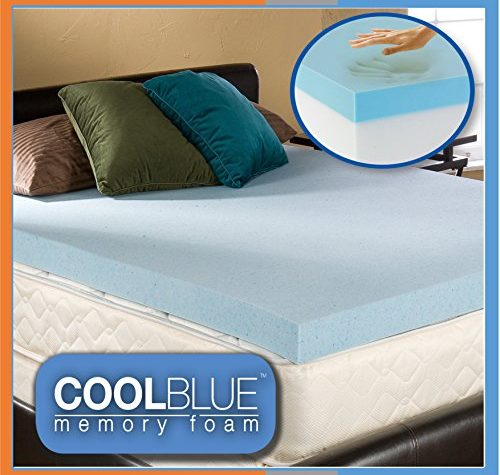 4ft6 Double 4 inch Cool Blue Hybrid Memory Foam Orthopaedic Mattress Topper 10cm Thick 1