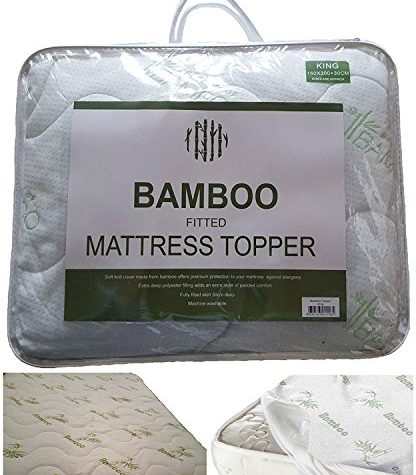 """New High Quality Extra-Deep 12"""" (30cm) BAMBOO MATTRESS TOPPER (Mattress Protector) ~ Fitted Sheet Style Hygienic & Hypoallergenic Protector ~ UK SIZES (SINGLE) 1"""