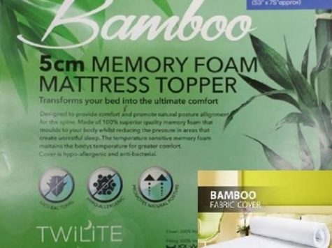 "Luxurious Quality Hypo - Allergenic & Anti – Bacterial BAMBOO MEMORY FOAM MATTRESS TOPPER - 1"" (2.54cm) and 2"" (4.5cm) (2"" ( 5 cm ), King) 8"