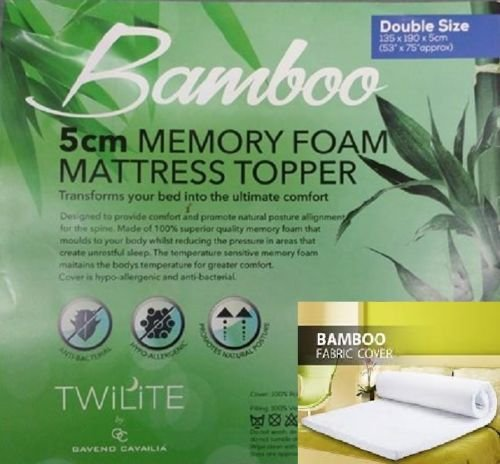 "Luxurious Quality Hypo - Allergenic & Anti – Bacterial BAMBOO MEMORY FOAM MATTRESS TOPPER - 1"" (2.54cm) and 2"" (4.5cm) (2"" ( 5 cm ), King) 1"