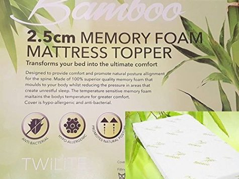 "Quality Bamboo Memory Foam Mattress Topper 1"" Ultrasoft Memory Foam, Orthopedic, Hypoallergenic( Double: 135 x 190 cm) 6"