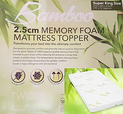 "Quality Bamboo Memory Foam Mattress Topper 1"" Ultrasoft Memory Foam, Orthopedic, Hypoallergenic( Double: 135 x 190 cm) 1"