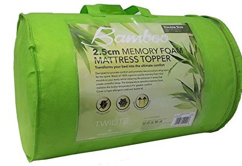 "Memory Foam Mattress Topper Bamboo Orthopaedic 1, 2 Thick Zipped Cover All Sizes (1"" (2.5 cm), Single) 6"
